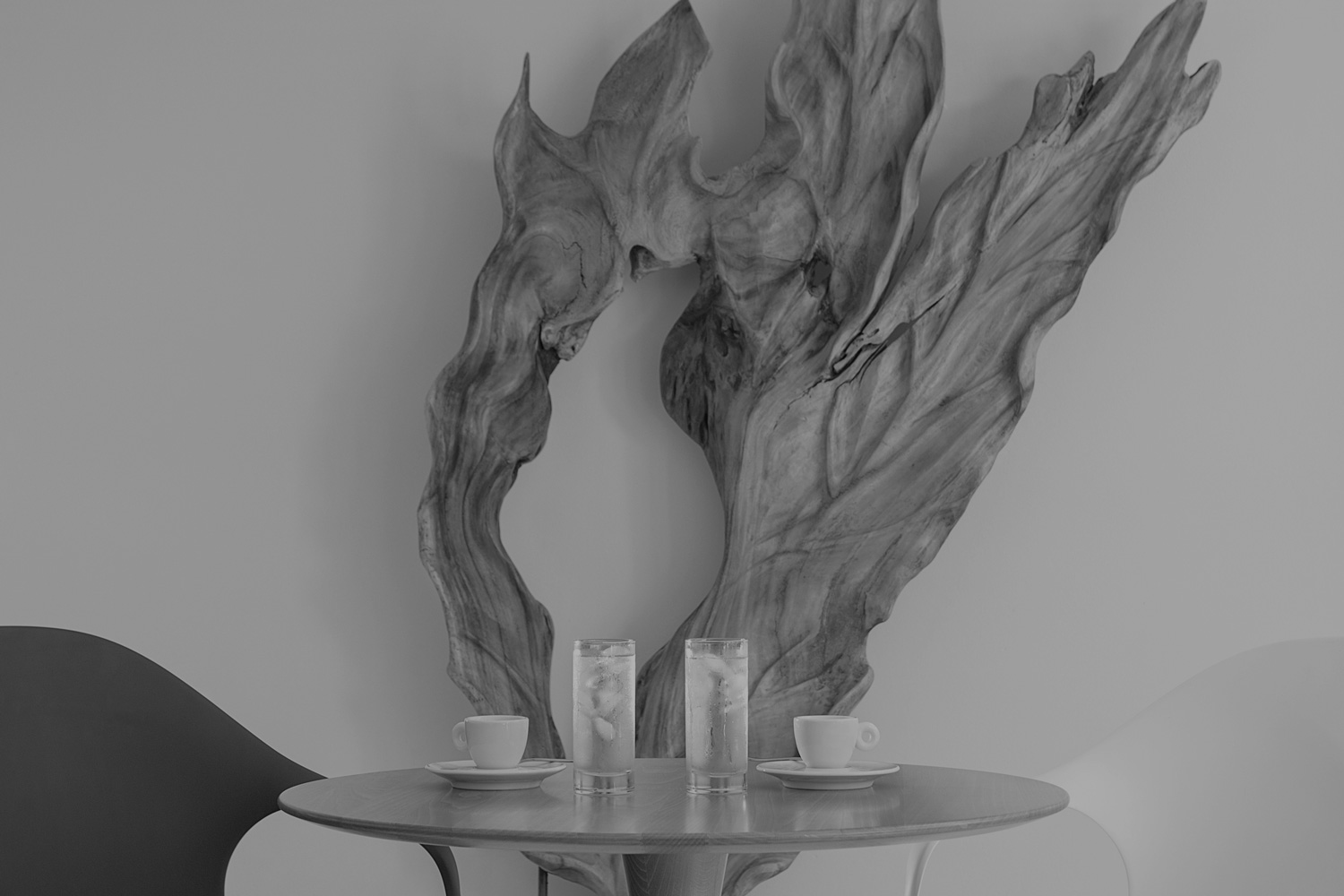 black and white picture of a table
