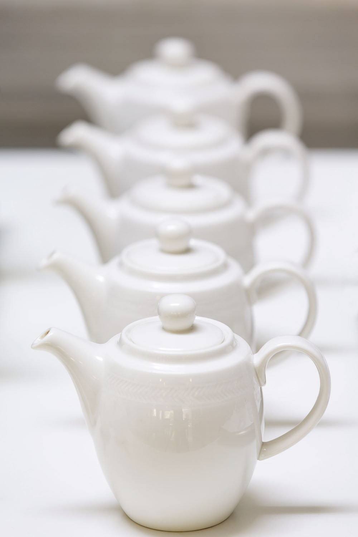 Close up of tea pots