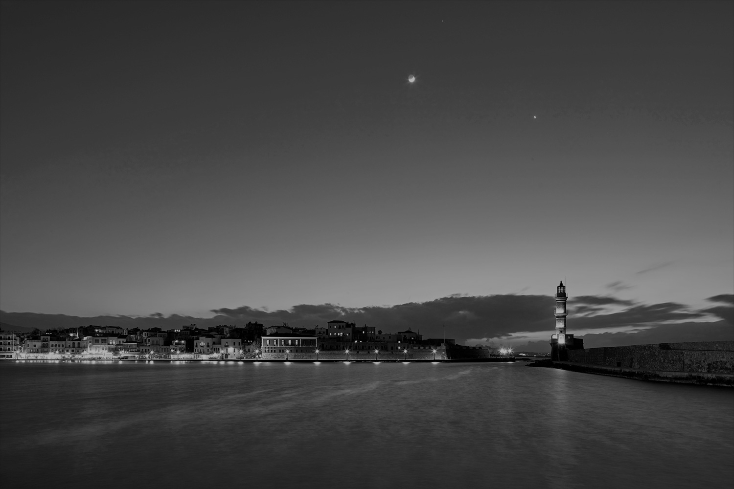 black and white image of chania at night