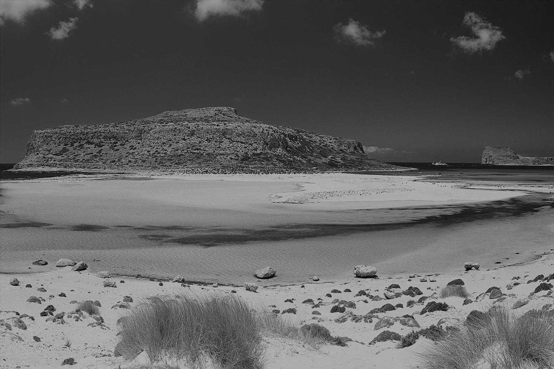 black and white image of Balos Beach