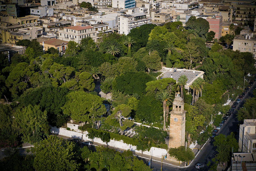 aerial view of the gardens