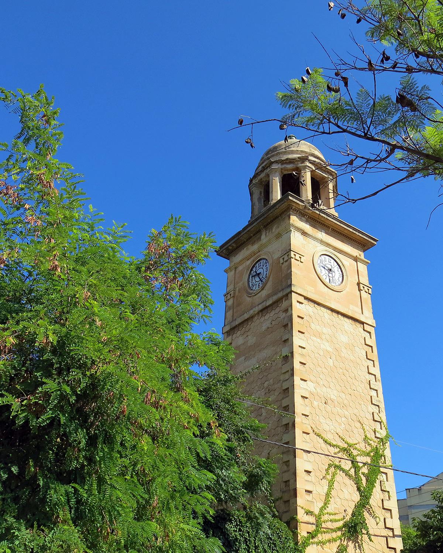 Clock tower of the garden from below