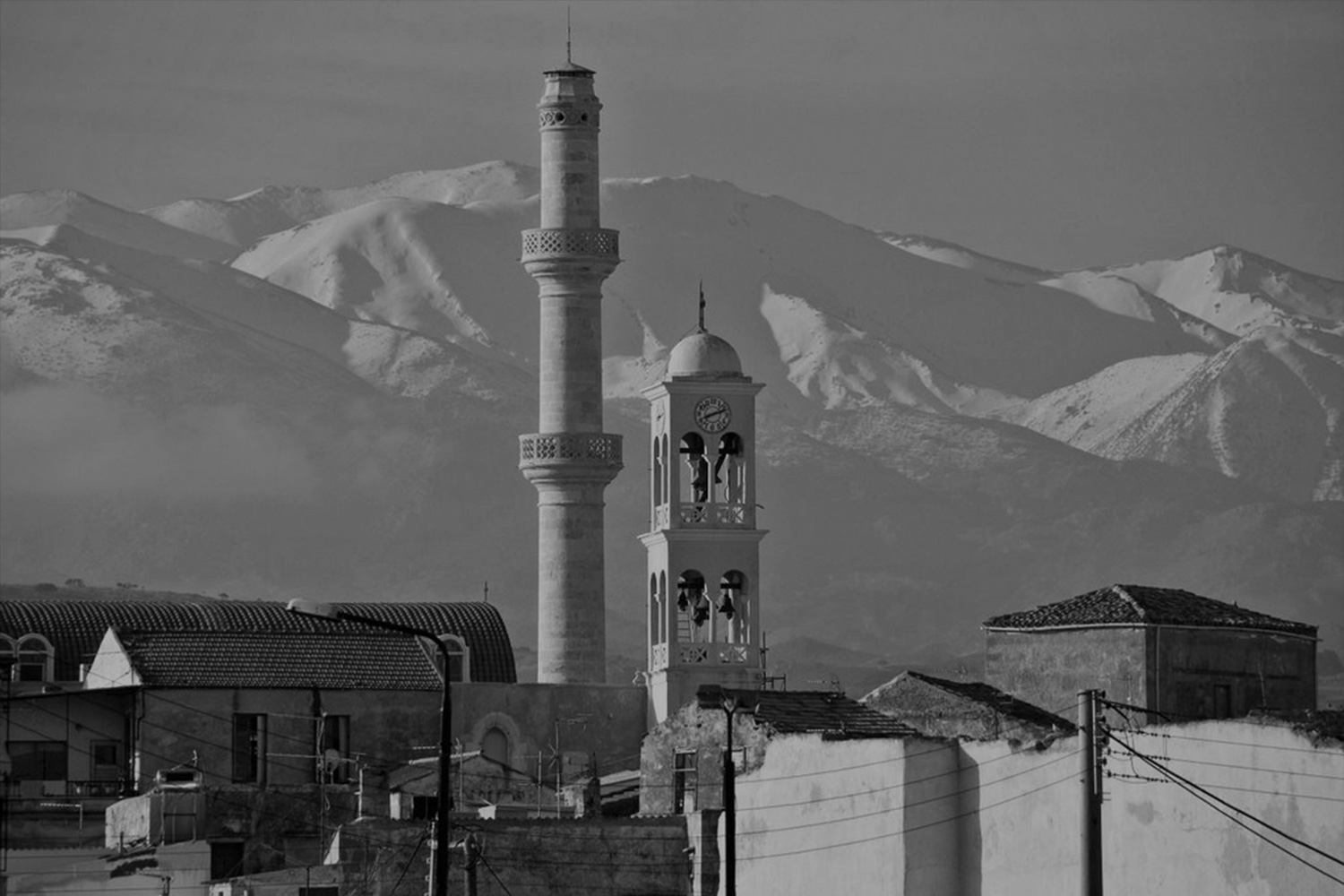 Black and white view of Minaret from a distance