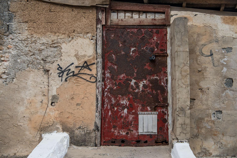red steel door