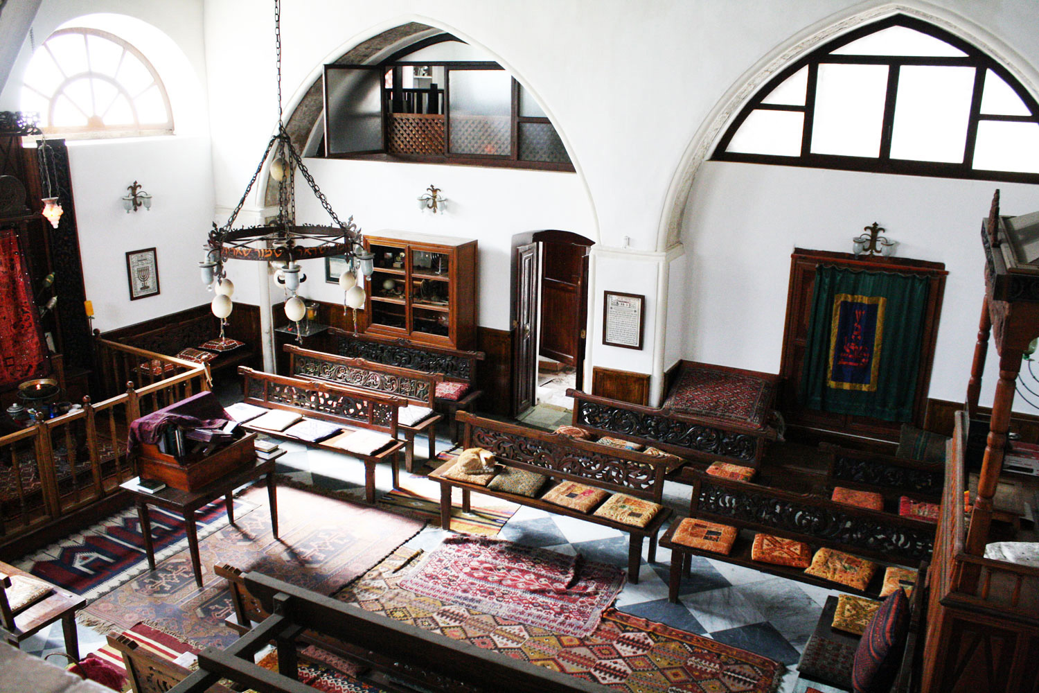 Praying room inside the synagogue from above