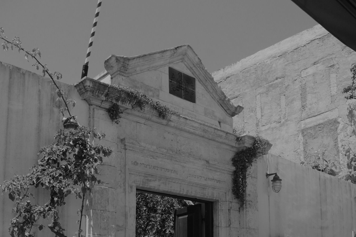 Black and white outside view of the Synagogue